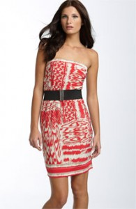 BCBG Belted Strapless Dress