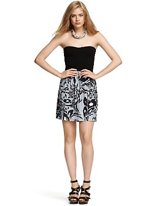 animal print strapless dress