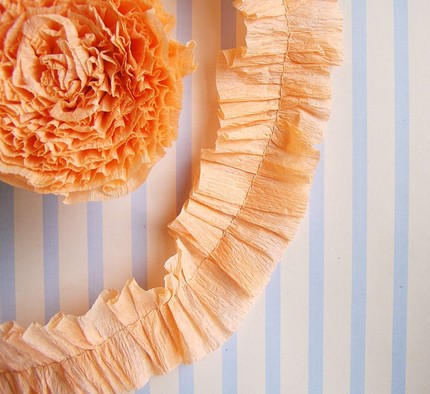 peach ruffled crepe trim garland