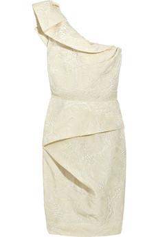 lela rose one shoulder silk blend dress