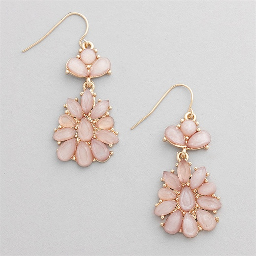 blush flower teardrop earrings