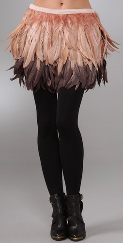 alice and olivia francesca feather skirt
