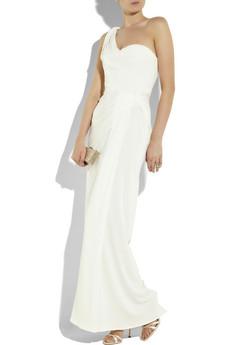 issa silk crepe asymmetric gown
