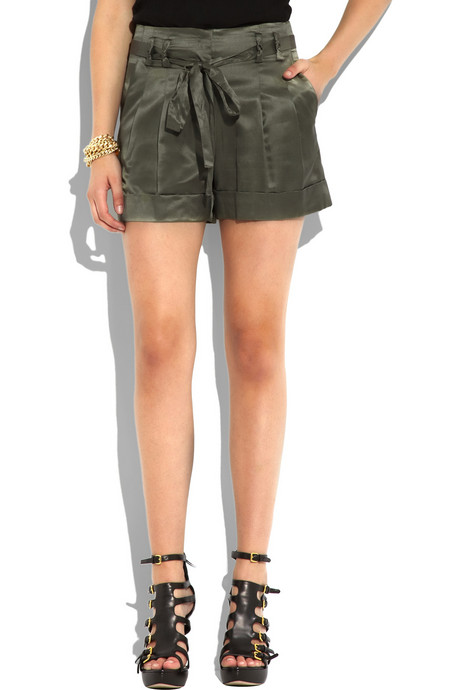 milly satin belted shorts