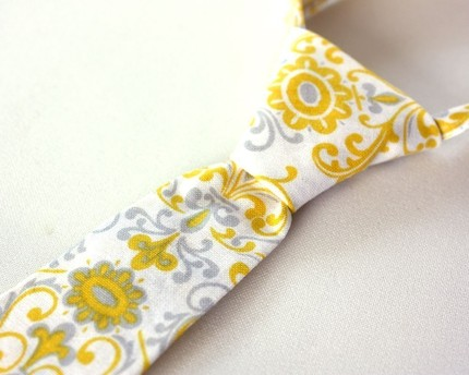 baby by stevie damask yellow grey and white necktie