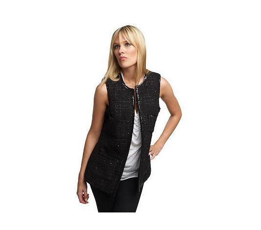 rachel zoe patch pocket vest w/ sequin trim
