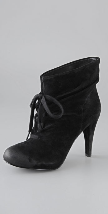 ash honey ruched suede booties