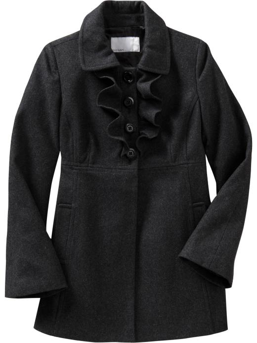 womens ruffled wool blend coat