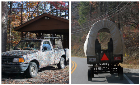 Covered Wagon and Camoflauge Truck
