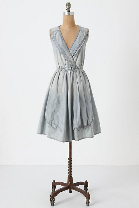anthropologie draped denim dress