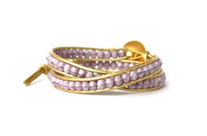 lilac czech glass and leather wrap bracelet