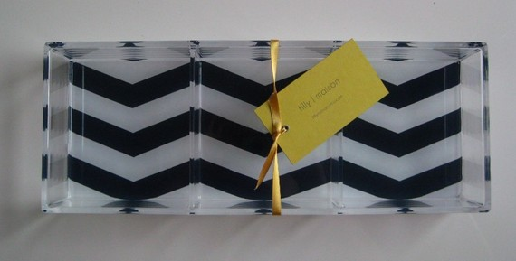 navy white chevron tray