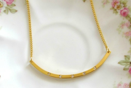 vintage gold bar necklace