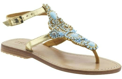 mystique turquoise and gold sandals
