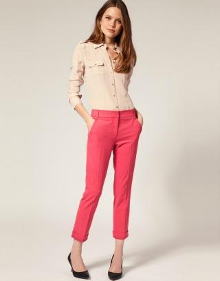 asos pink cropped pants