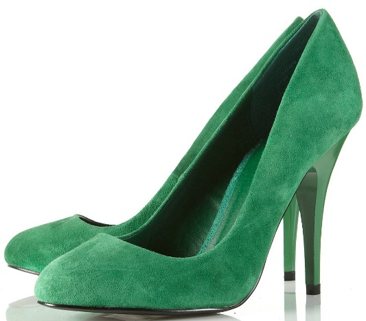 topshop glam green suede court shoe
