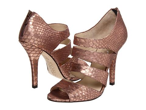KORS Michael Kors rose gold gilded snake heels