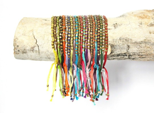 brooklyn thread hand knotted brass bead bracelets