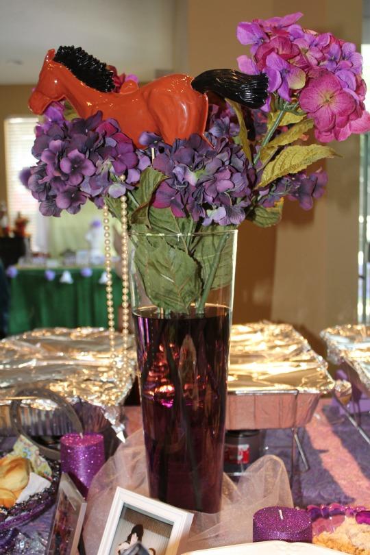 kentucky derby bridal shower floral arrangement