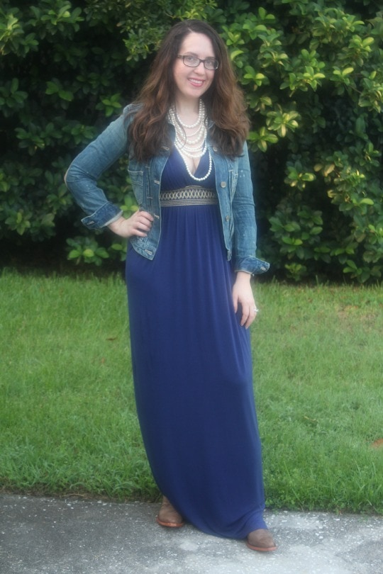 cowgirl chic, denim jacket, maxi dress, layered pearls, college boots, gator boots