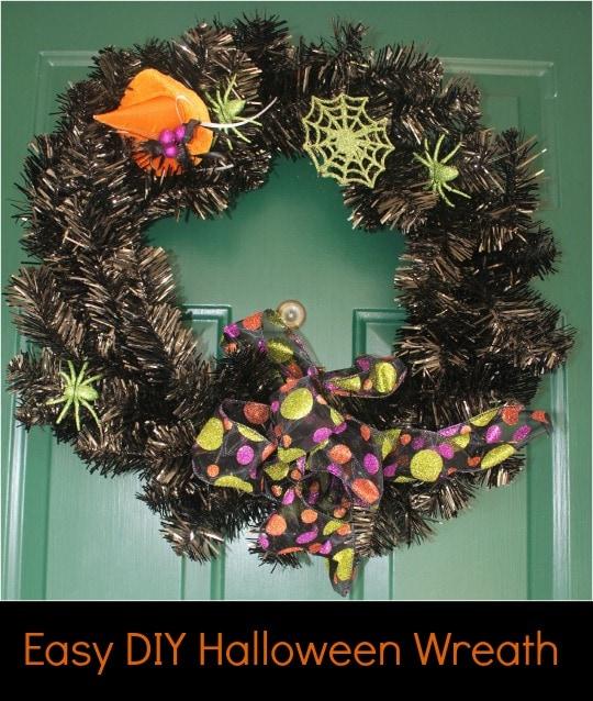 easy diy halloween wreath, halloween wreath, diy wreath