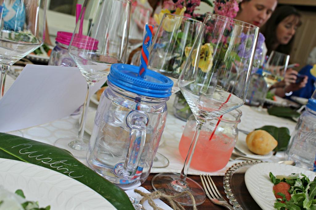 southern style luncheon, aladdin masons, mason jars