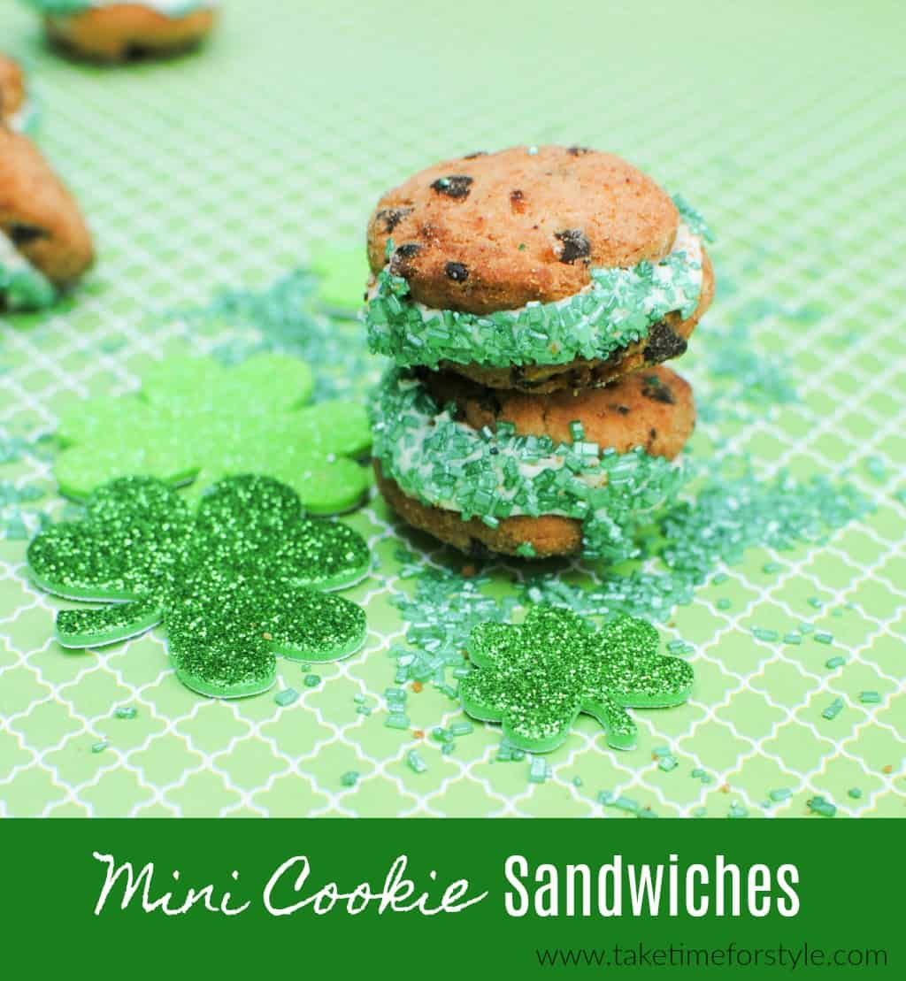 mini cookie sandwiches on a green plate for a St. Patrick's Day treat
