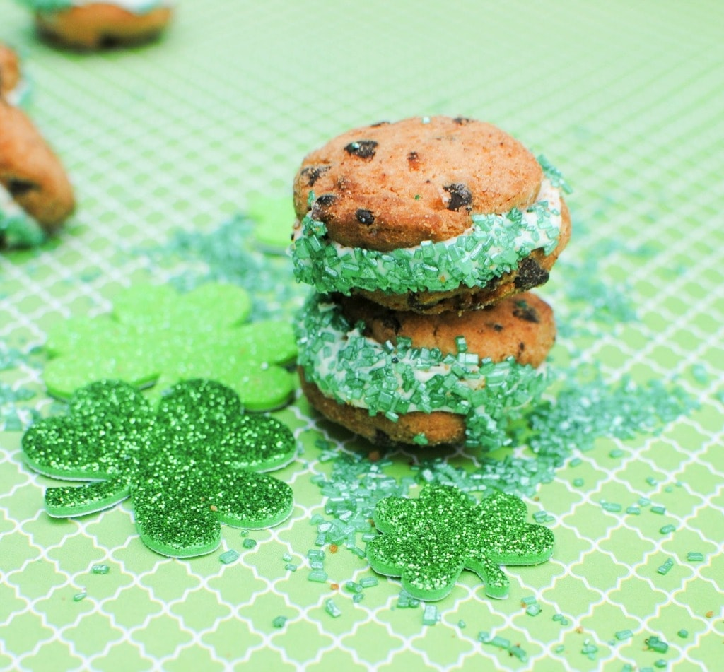 mini cookie sandwiches in green sprinkles for St. Patrick's Day