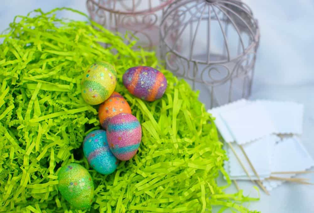 easter easter place cards made of easter grass and easter eggs
