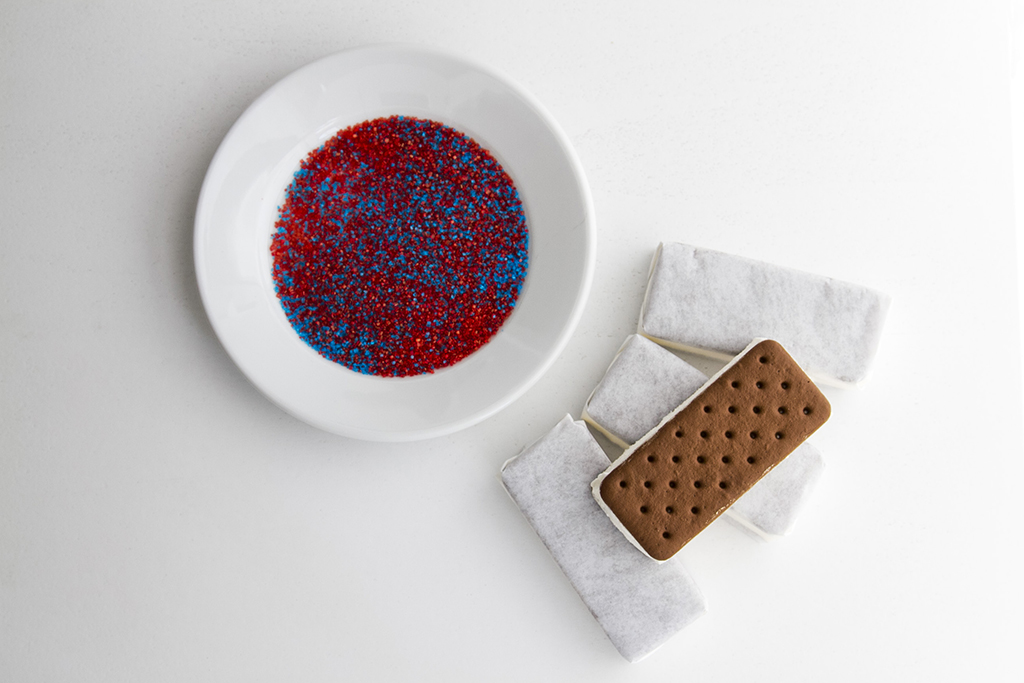 Red, White and Blue Ice Cream Sandwiches