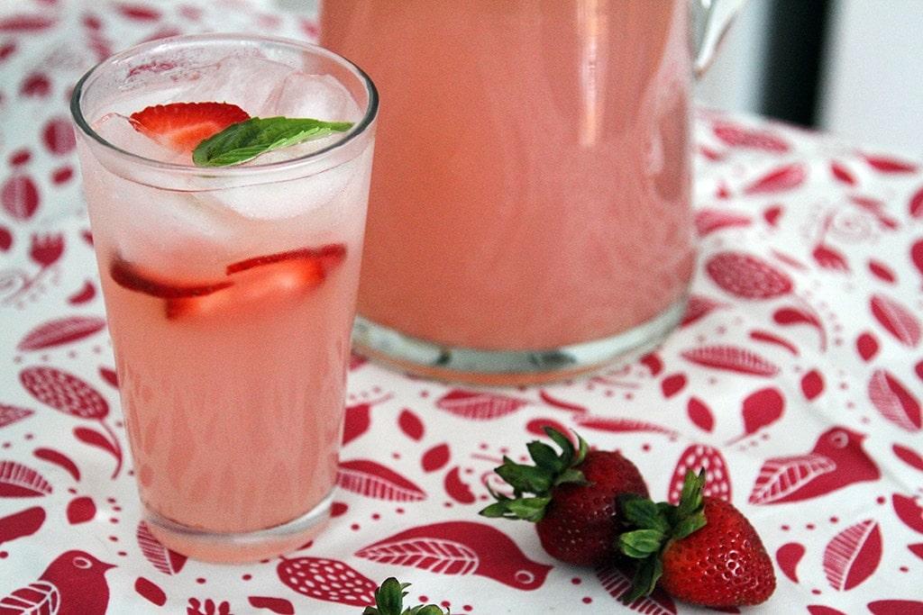 Glass of Strawberry Basil Lemonade