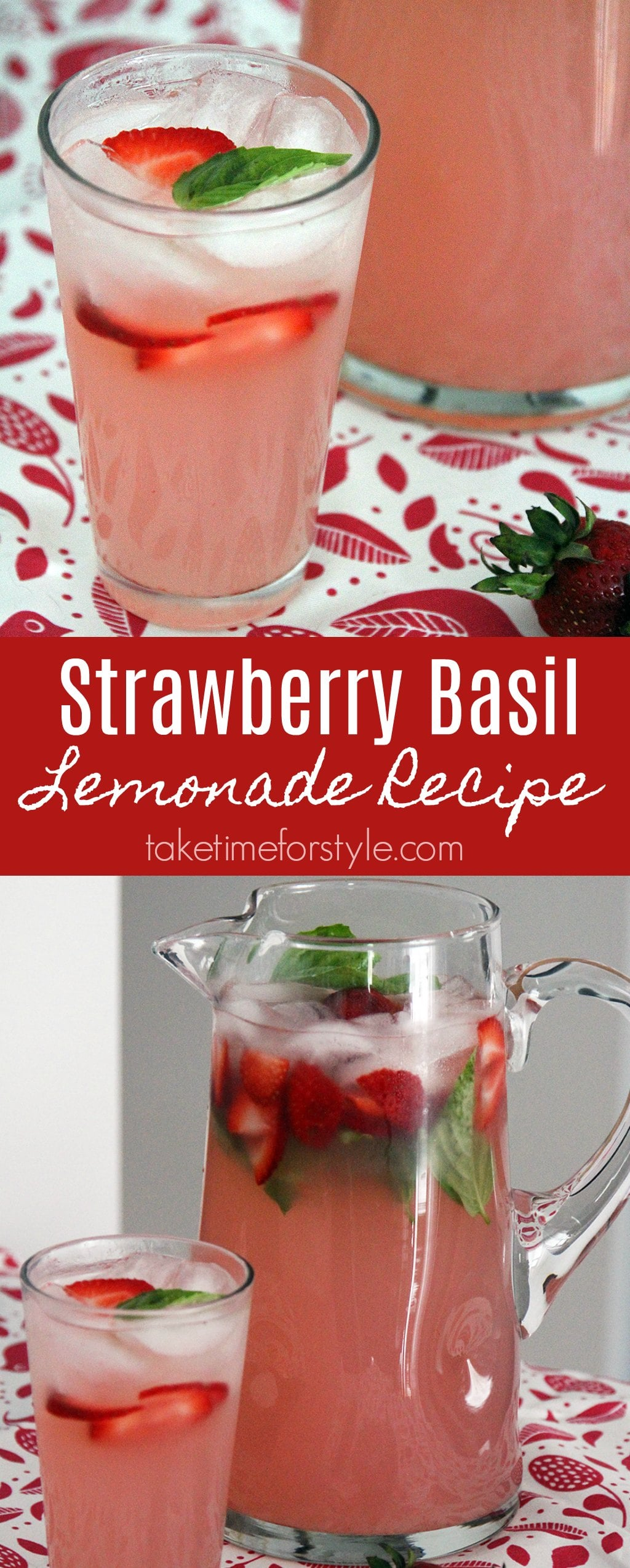 A Strawberry Basil Lemonade recipe that can be made as is or spiked with Vodka. With ingredients like fresh fruit and herbs, it's perfect for summer entertaining!