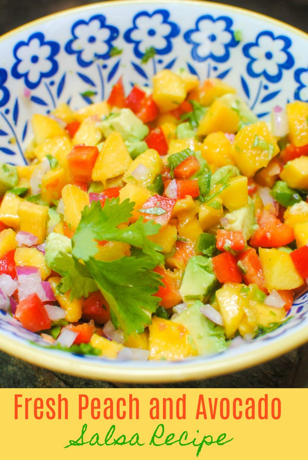 avocado salsa in a multi-colored bowl