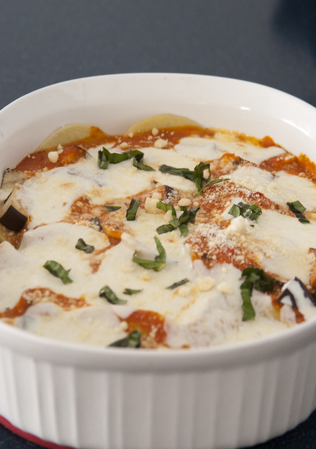 Baked Ravioli in a white dish