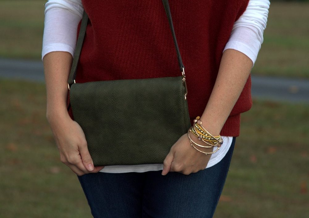 Demi Fold Over Vegan Leather Crossbody Bag