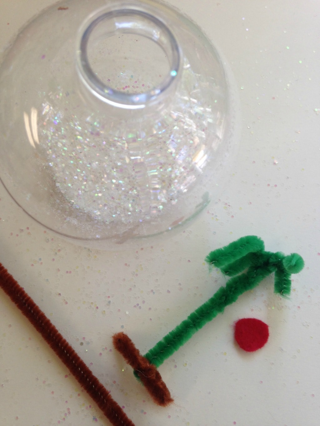 charlie brown tree ornament supplies clear ornament and green pipe cleaner