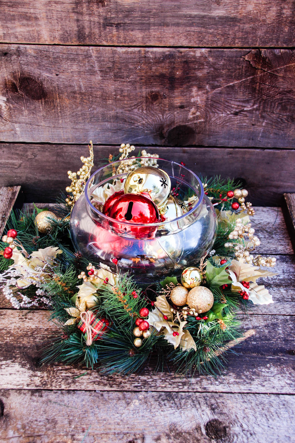 Red Gold Christmas Centerpiece Final Above