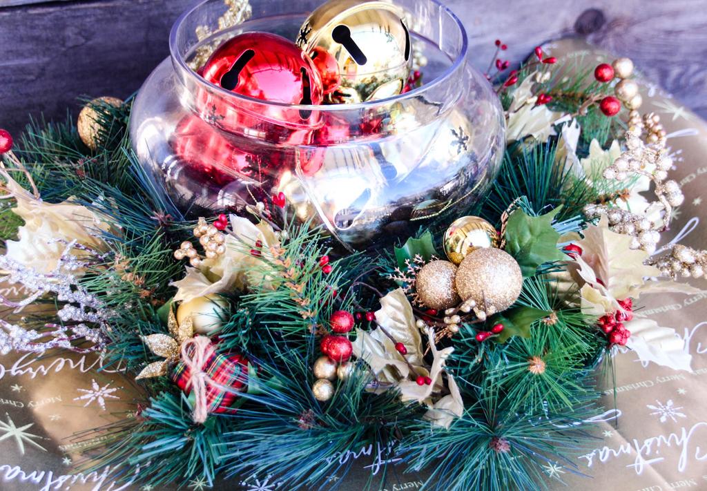 Red Gold Christmas Centerpiece Final
