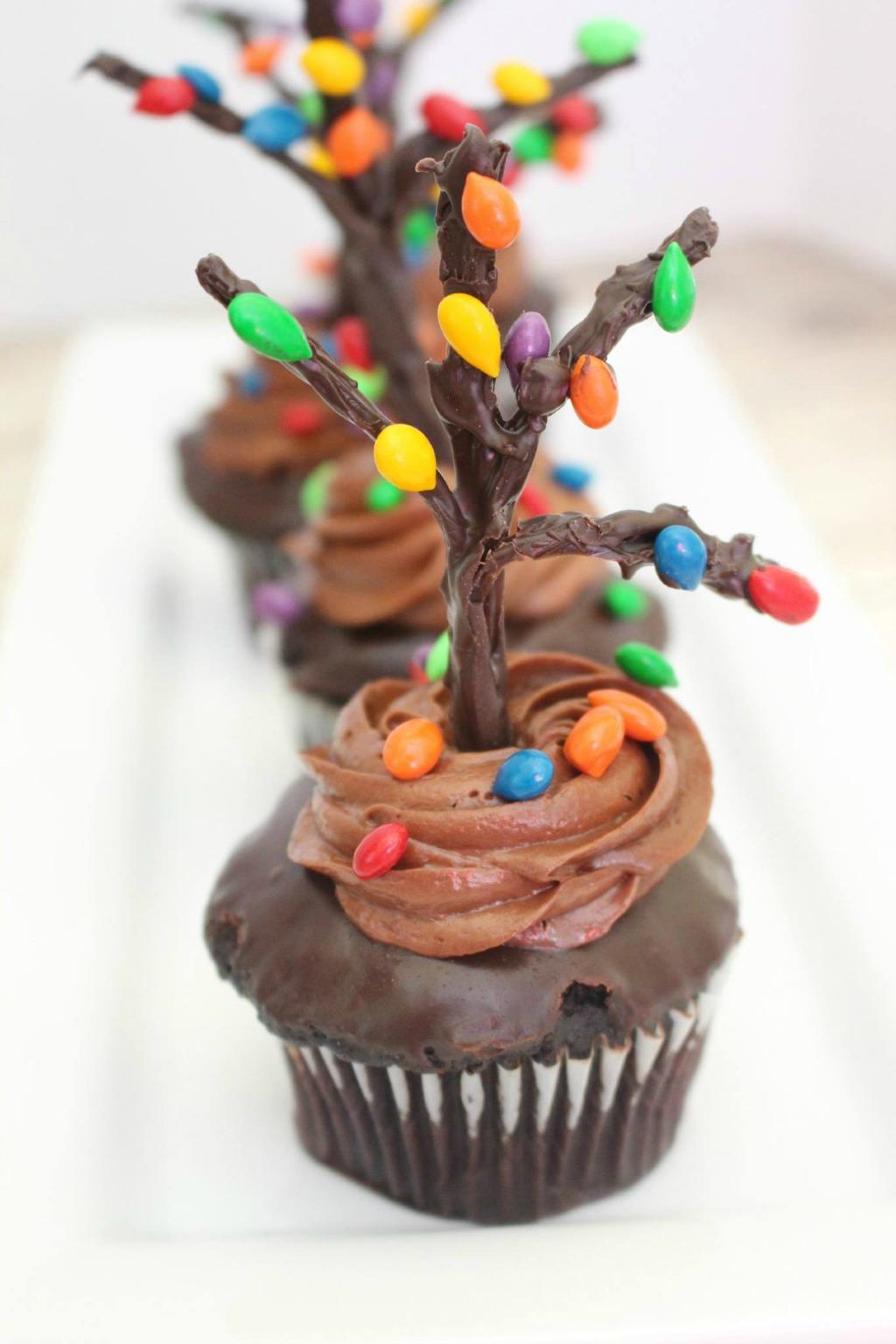holiday tree chocolate cupcakes on white tray