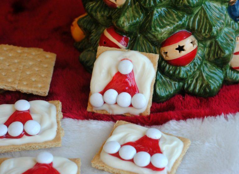 No Bake Holiday Treat: Graham Cracker Santa Hats