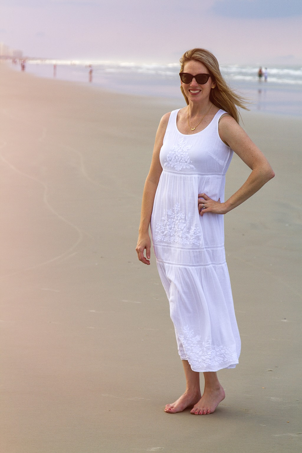 White J. Jill Embroidered Dress