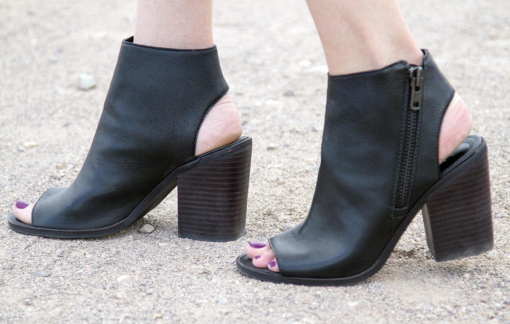 Black Peep-Toe Booties
