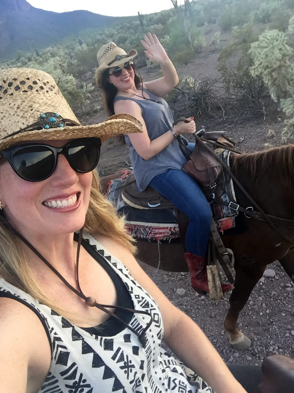 Megan and Kristin on dude ranch vacation