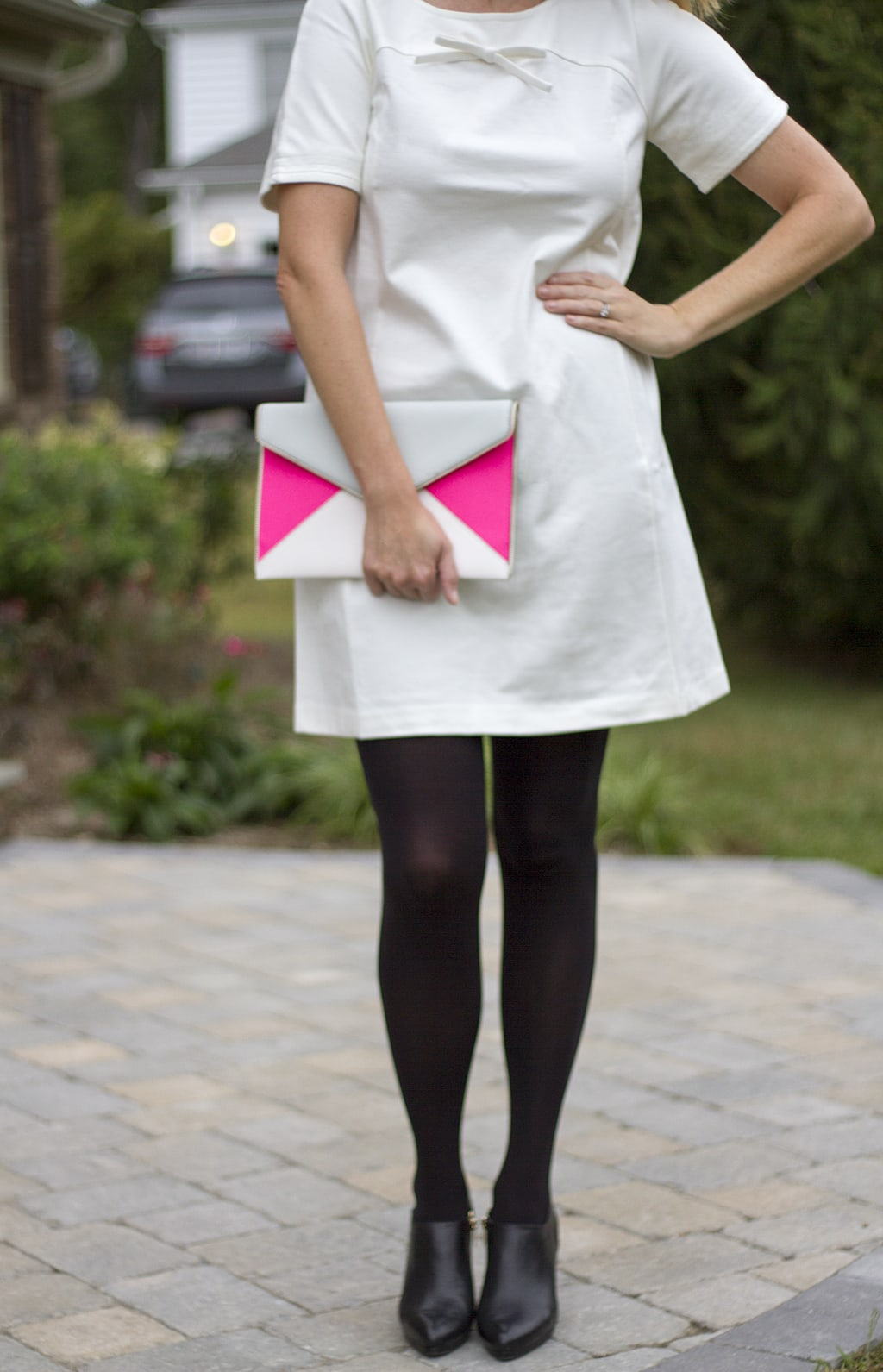 Ivory Shift Dress and Colorblock clutch