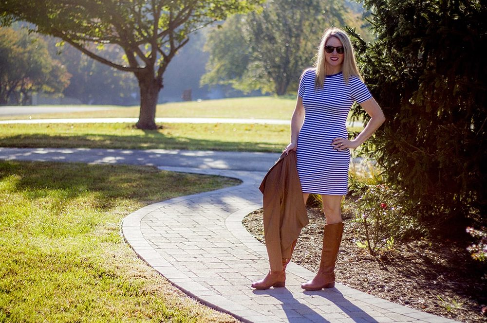 Little Striped Dress in blue and white