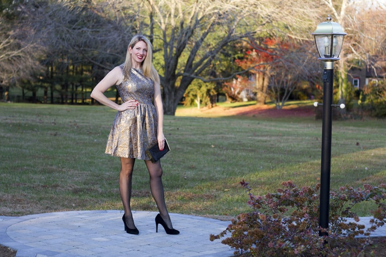 Metallic Fit and Flare Holiday Dress