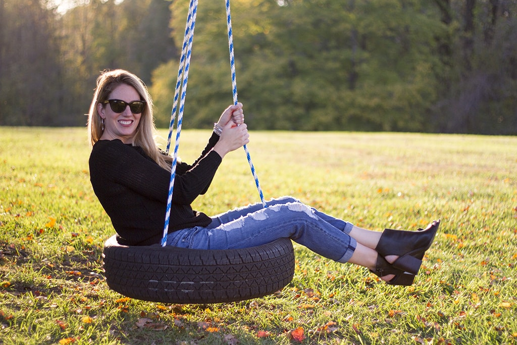 Having Fun Swinging in a Cold Shoulder Sweater