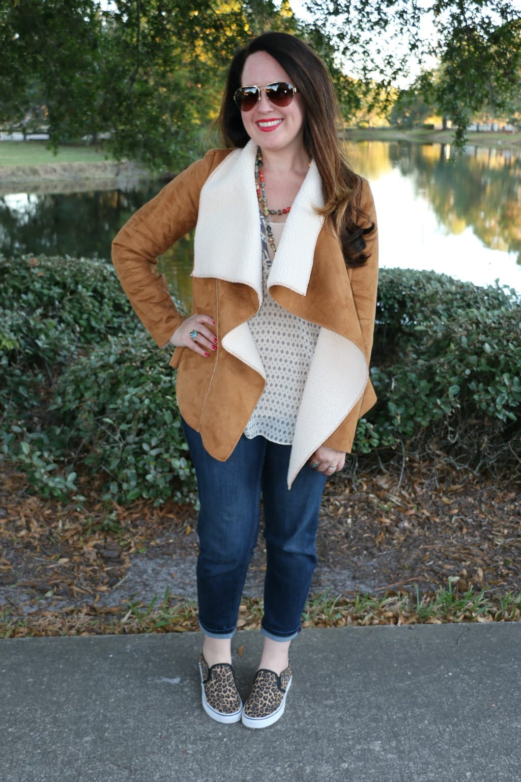 shearling jacket look