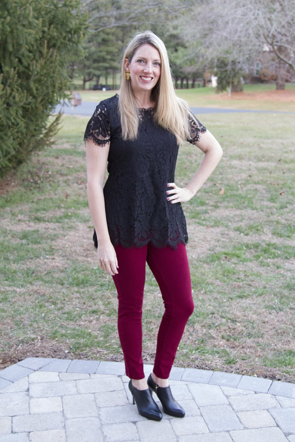 Black Lace Peplum Top