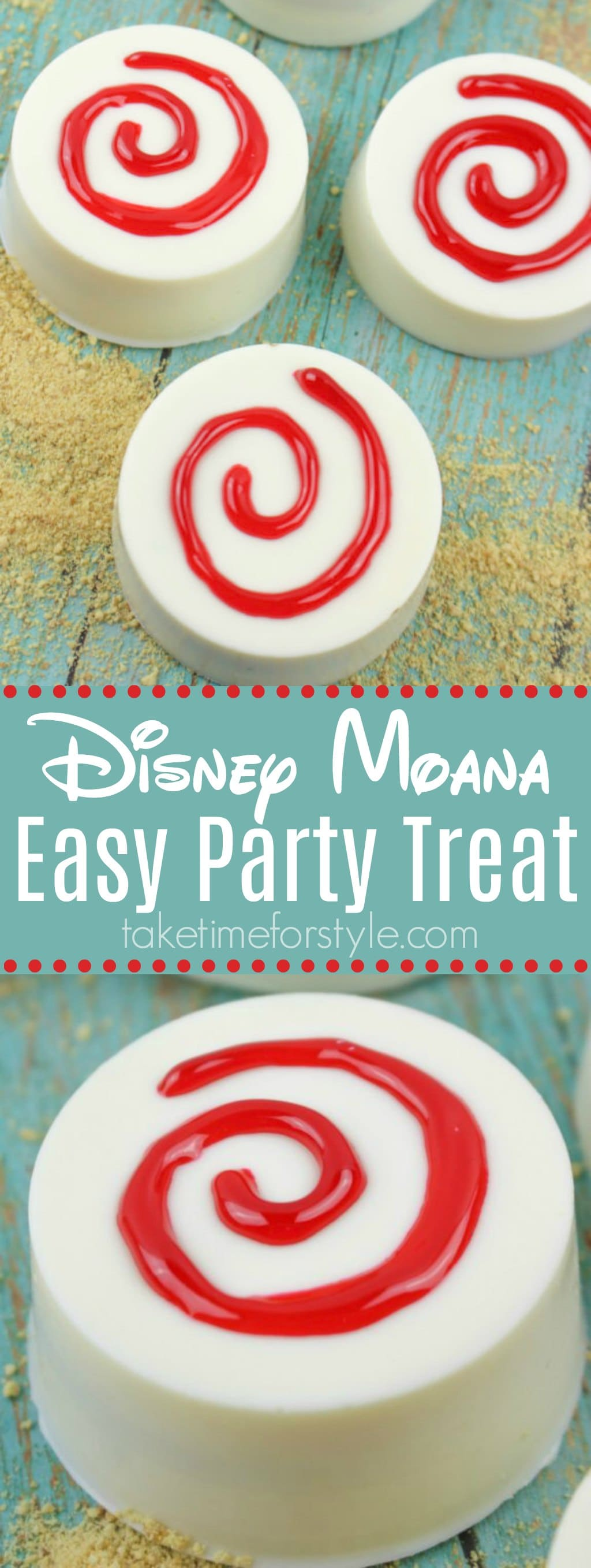 Disney Moana Easy Party Treat - white chocolate covered oreos with red swirl on a green background.